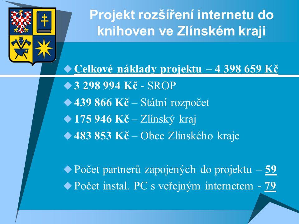 Projekt rozšíření internetu do knihoven ve Zlínském kraji  Celkové náklady projektu – 4 398 659 Kč  3 298 994 Kč - SROP  439 866 Kč – Státní rozpočet  175 946 Kč – Zlínský kraj  483 853 Kč – Obce Zlínského kraje  Počet partnerů zapojených do projektu – 59  Počet instal.