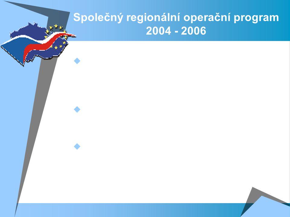 Společný regionální operační program 2004 - 2006  Důraz byl v rámci SROP kladen na podporu vyváženého a udržitelného ekonomického rozvoje regionů, který vycházel z iniciativ veřejného, neziskového a soukromého sektoru.