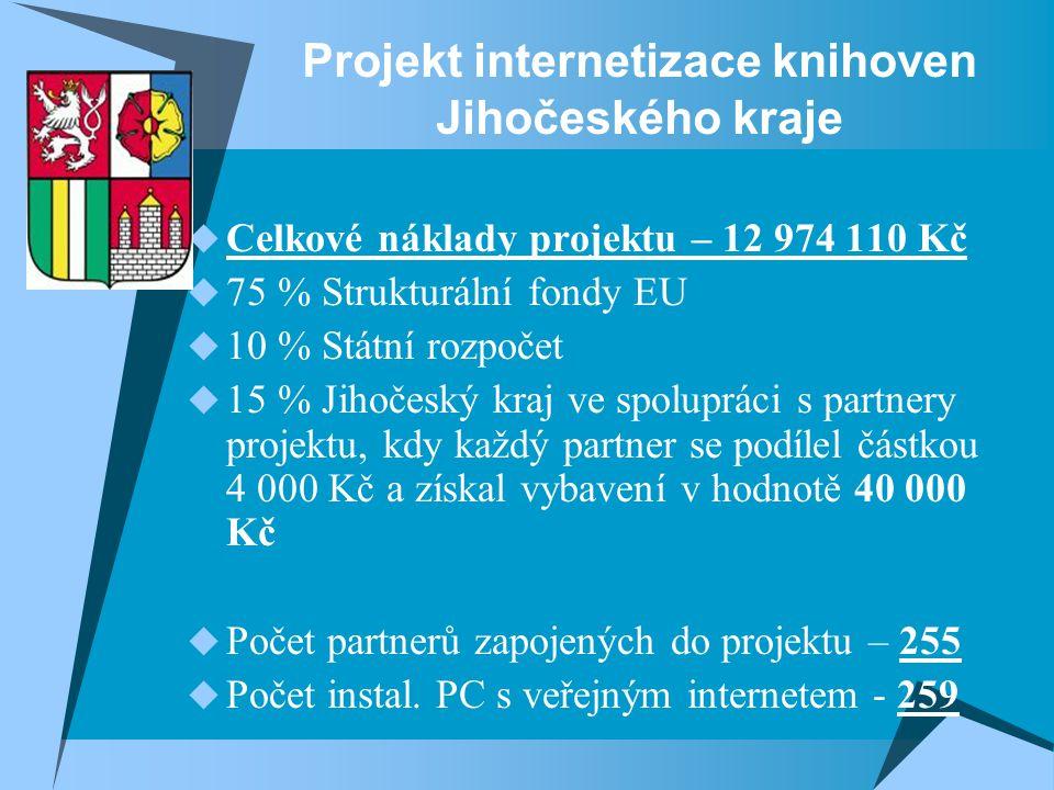 Projekt internetizace knihoven Jihočeského kraje  Celkové náklady projektu – 12 974 110 Kč  75 % Strukturální fondy EU  10 % Státní rozpočet  15 % Jihočeský kraj ve spolupráci s partnery projektu, kdy každý partner se podílel částkou 4 000 Kč a získal vybavení v hodnotě 40 000 Kč  Počet partnerů zapojených do projektu – 255  Počet instal.