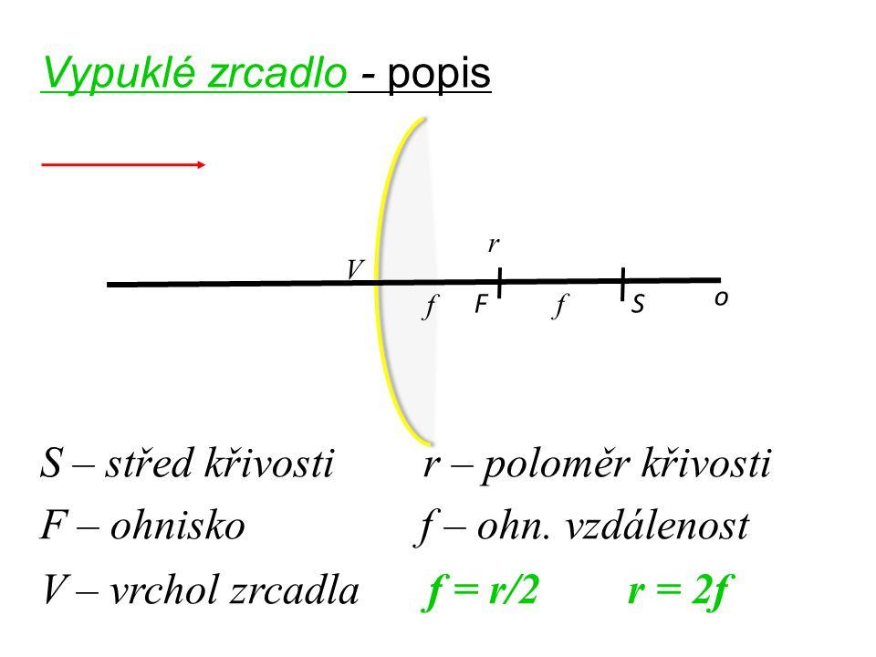 Vypuklé zrcadlo - popis o FS S – střed křivosti r – poloměr křivosti F – ohnisko f – ohn. vzdálenost V – vrchol zrcadla f = r/2 r = 2f r f V f