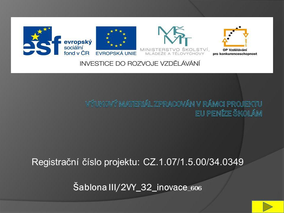 Registrační číslo projektu: CZ.1.07/1.5.00/34.0349 Šablona III/2VY_32_inovace _606
