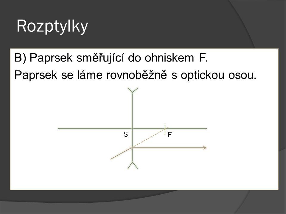 Rozptylky B) Paprsek směřující do ohniskem F. Paprsek se láme rovnoběžně s optickou osou. S F