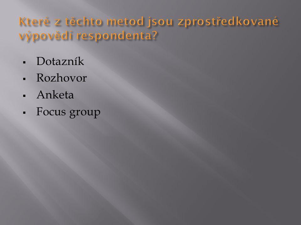  Dotazník  Rozhovor  Anketa  Focus group