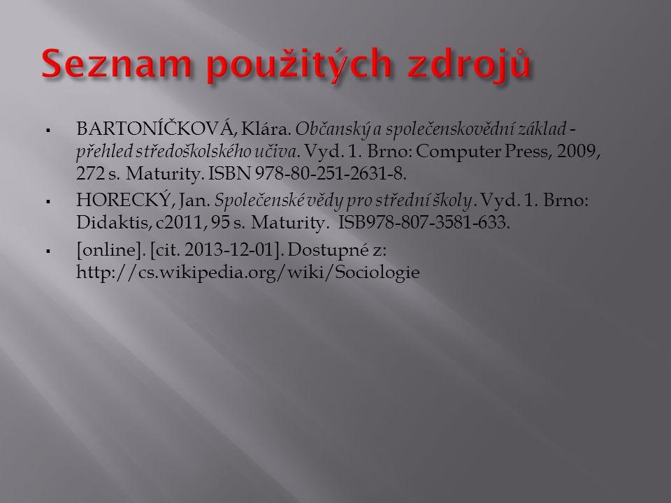  BARTONÍČKOVÁ, Klára. Občanský a společenskovědní základ - přehled středoškolského učiva. Vyd. 1. Brno: Computer Press, 2009, 272 s. Maturity. ISBN 9