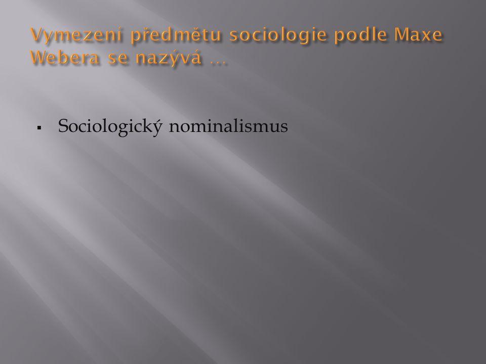  Sociologický nominalismus