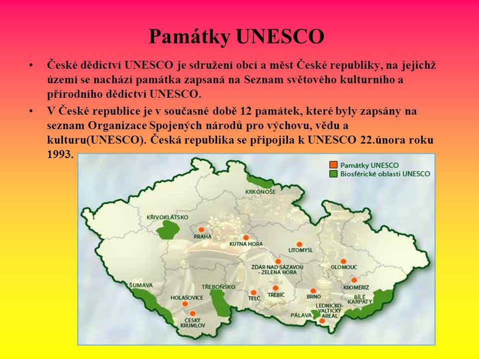 Památky UNESCO České dědictví UNESCO je sdružení obcí a měst České republiky, na jejichž území se nachází památka zapsaná na Seznam světového kulturní
