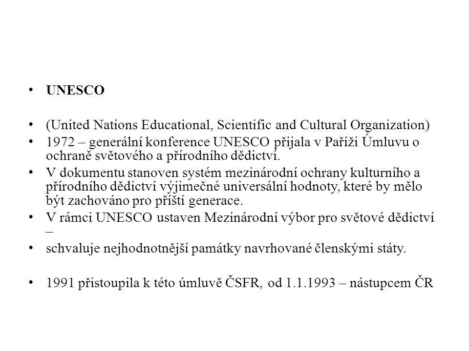 (United Nations Educational, Scientific and Cultural Organization) 1972 – generální konference UNESCO přijala v Paříži Úmluvu o ochraně světového a př