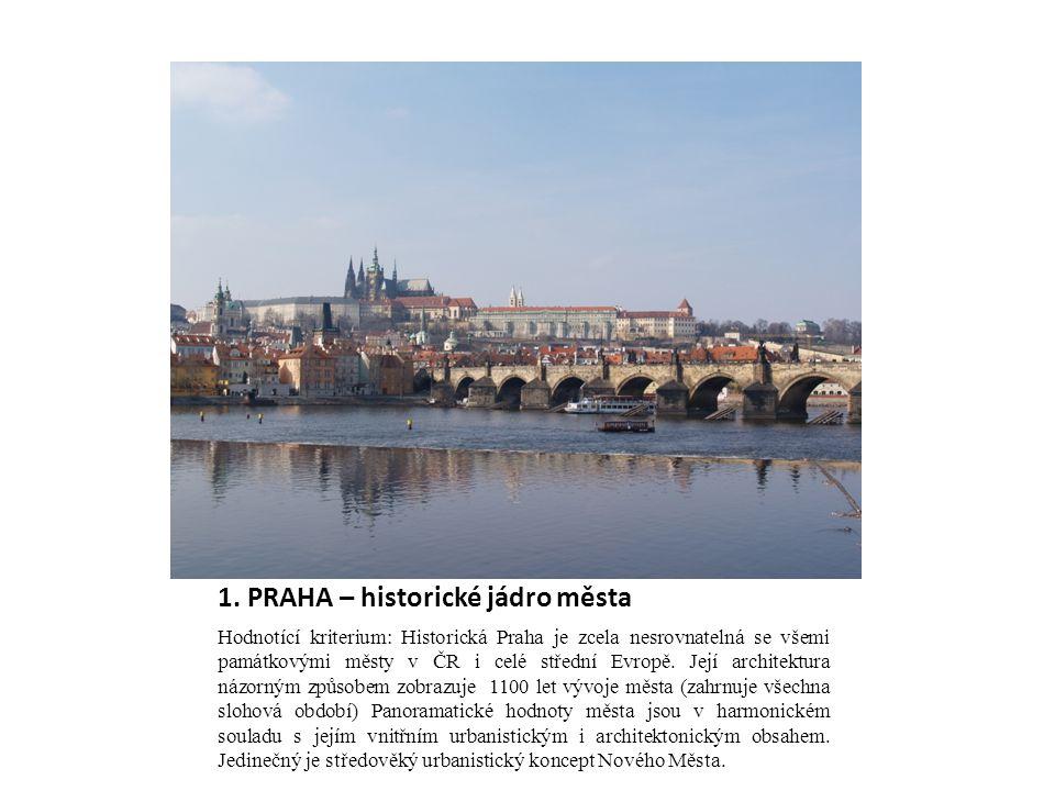 1. PRAHA – historické jádro města Hodnotící kriterium: Historická Praha je zcela nesrovnatelná se všemi památkovými městy v ČR i celé střední Evropě.