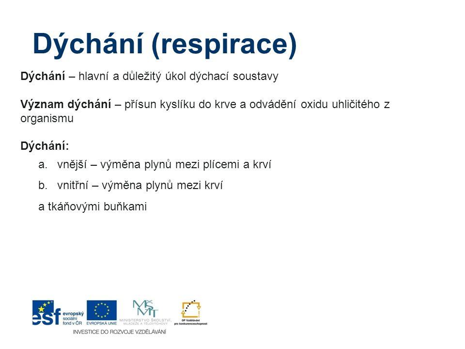 Kouření:  vede k chronické bronchitidě (kuřácký kašel), špatnému prokrvování srdce, oběhovým nemocem (infarkt, mozková příhoda- mrtvice), nemocem dýchací soustavy  snižuje obranyschopnost (imunitu) organismu), vyvolává rakovinu plic Umělé dýchání(z plic do plic):  provádíme při zástavě dechu  může vést při zástavě dechu k záchraně života  mozkové buňky vydrží bez přísunu vzduchu pouze 4 – 5 minut