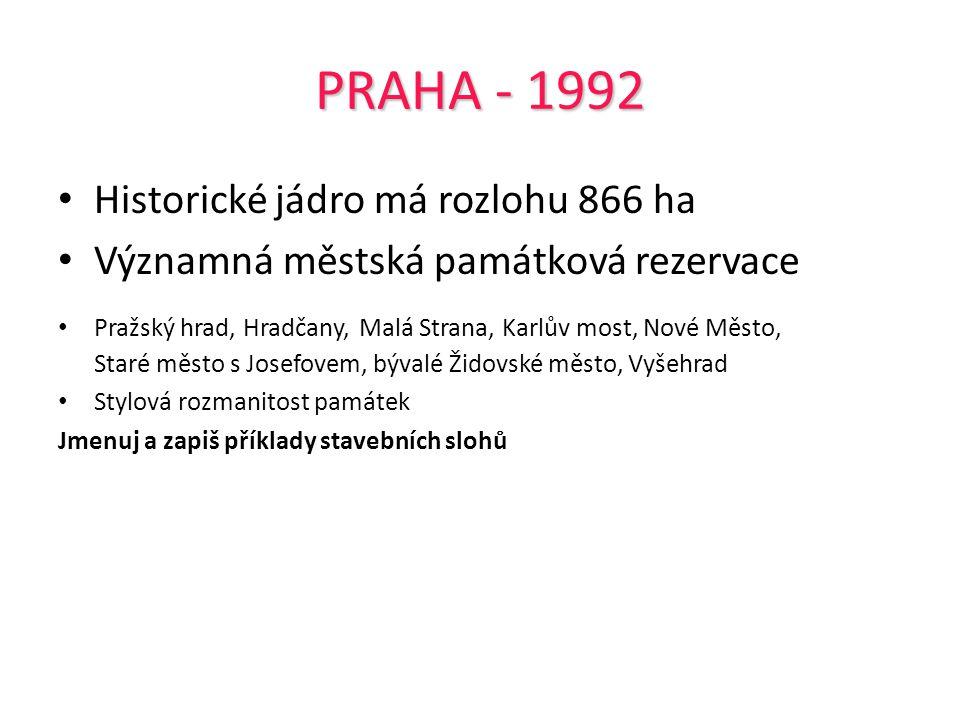 PRAHA - 1992 Historické jádro má rozlohu 866 ha Významná městská památková rezervace Pražský hrad, Hradčany, Malá Strana, Karlův most, Nové Město, Sta