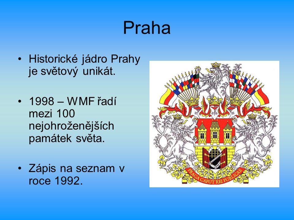 Praha Historické jádro Prahy je světový unikát. 1998 – WMF řadí mezi 100 nejohroženějších památek světa. Zápis na seznam v roce 1992.