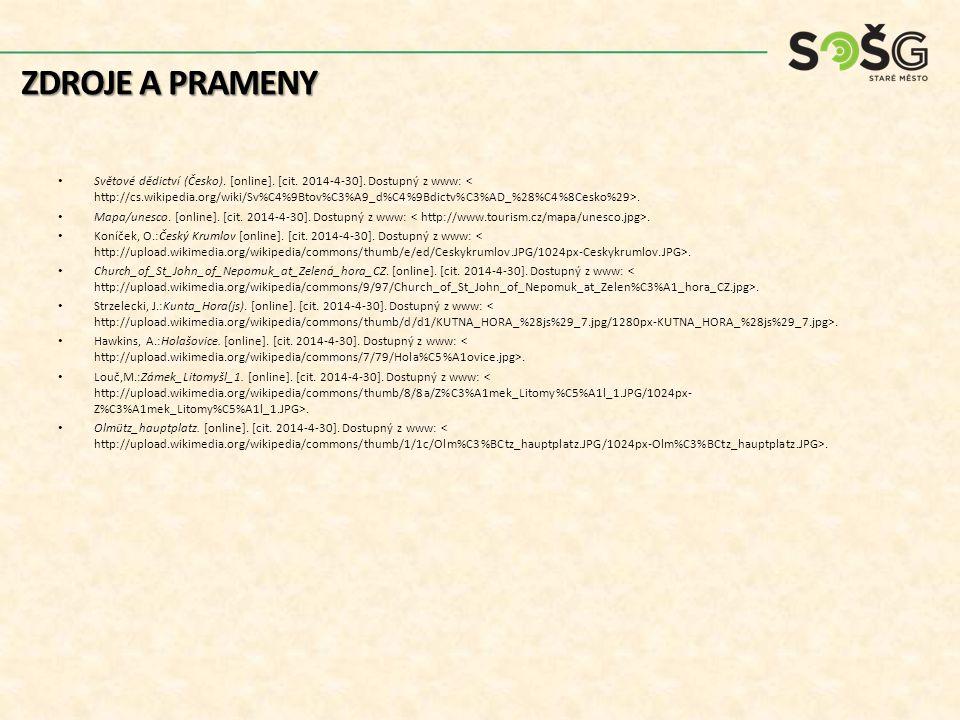Světové dědictví (Česko). [online]. [cit. 2014-4-30]. Dostupný z www:. Mapa/unesco. [online]. [cit. 2014-4-30]. Dostupný z www:. Koníček, O.:Český Kru