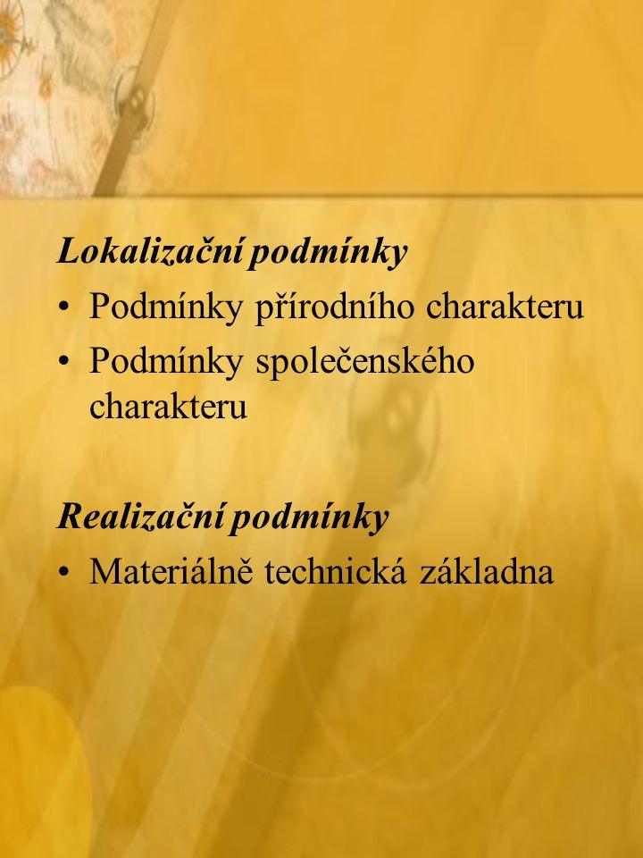Lokalizační podmínky Podmínky přírodního charakteru Podmínky společenského charakteru Realizační podmínky Materiálně technická základna