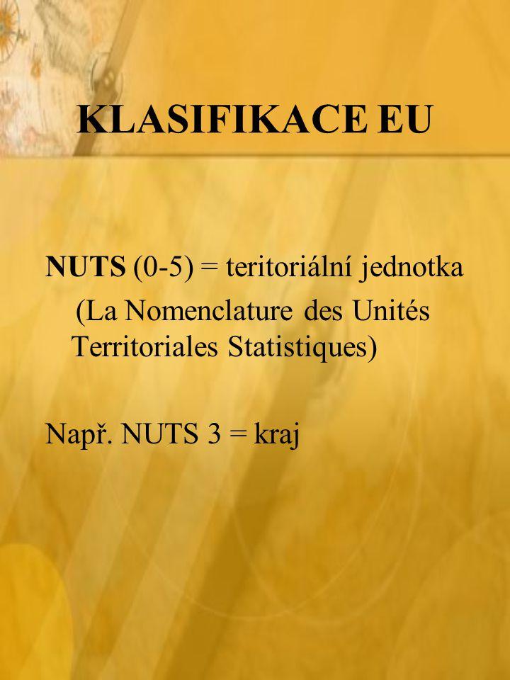 KLASIFIKACE EU NUTS (0-5) = teritoriální jednotka (La Nomenclature des Unités Territoriales Statistiques) Např.