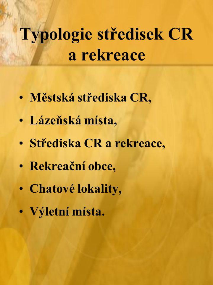 Typologie středisek CR a rekreace Městská střediska CR, Lázeňská místa, Střediska CR a rekreace, Rekreační obce, Chatové lokality, Výletní místa.
