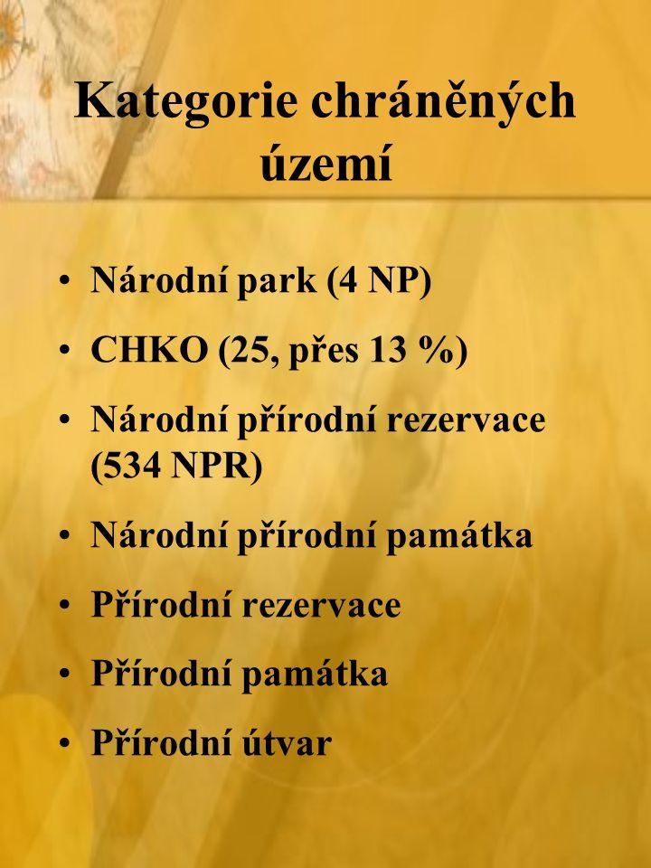 Kategorie chráněných území Národní park (4 NP) CHKO (25, přes 13 %) Národní přírodní rezervace (534 NPR) Národní přírodní památka Přírodní rezervace Přírodní památka Přírodní útvar