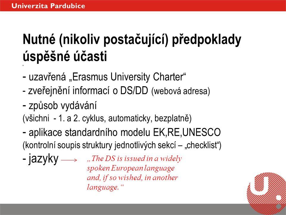 """Nutné (nikoliv postačující) předpoklady úspěšné účasti * - uzavřená """"Erasmus University Charter - zveřejnění informací o DS/DD (webová adresa) - způsob vydávání (všichni - 1."""