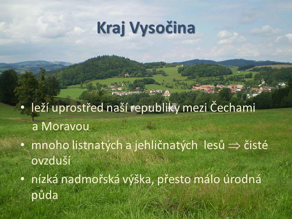 Kraj Vysočina leží uprostřed naší republiky mezi Čechami a Moravou mnoho listnatých a jehličnatých lesů  čisté ovzduší nízká nadmořská výška, přesto
