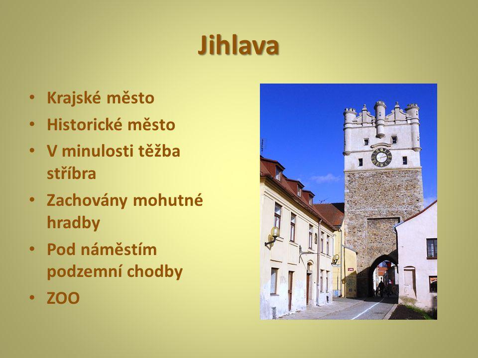 Jihlava Krajské město Historické město V minulosti těžba stříbra Zachovány mohutné hradby Pod náměstím podzemní chodby ZOO