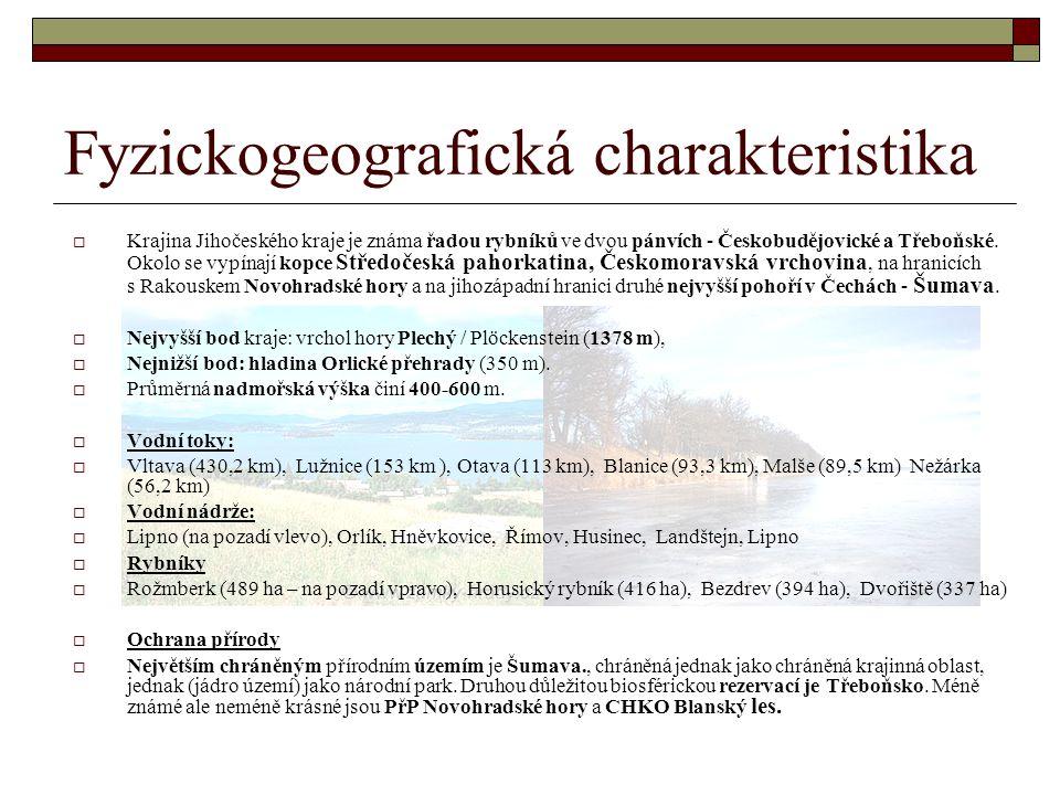 Fyzickogeografická charakteristika  Krajina Jihočeského kraje je známa řadou rybníků ve dvou pánvích - Českobudějovické a Třeboňské.