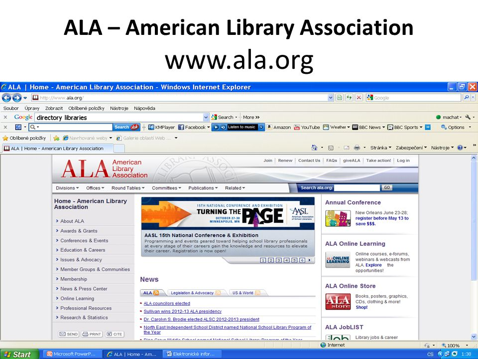 ALA – American Library Association www.ala.org