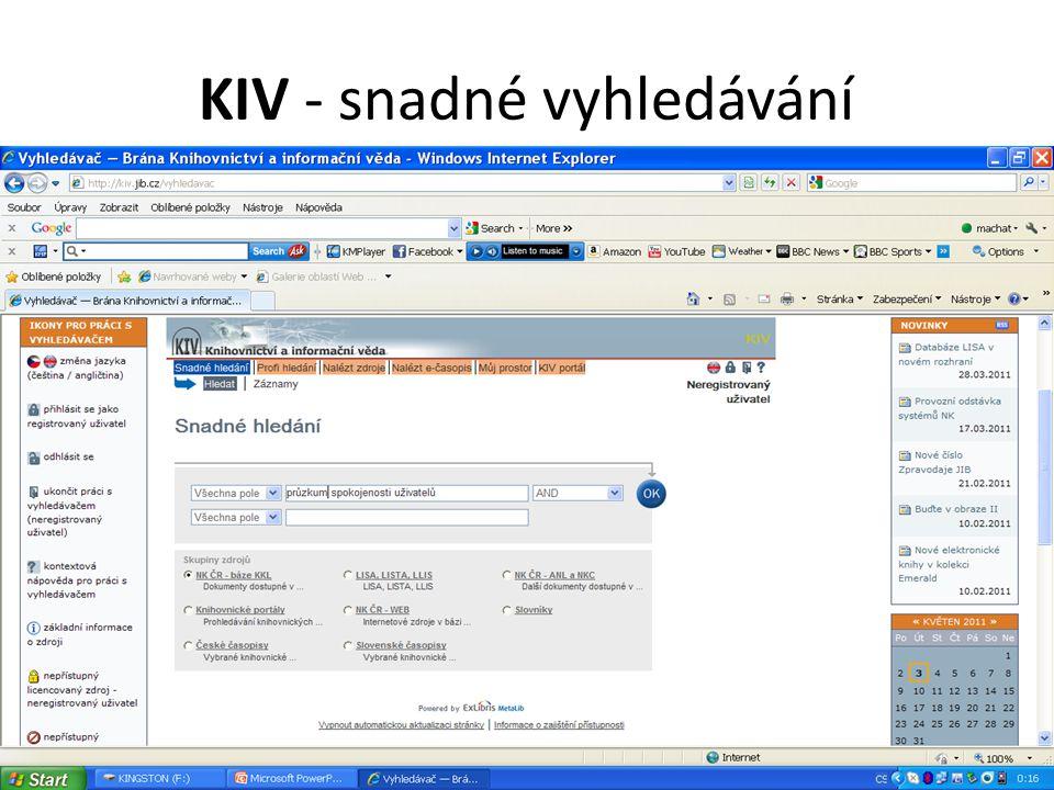 KIV - snadné vyhledávání