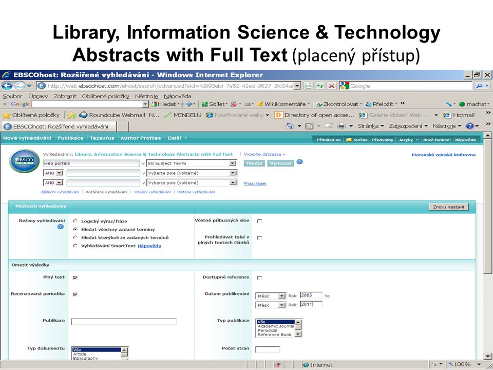 Library, Information Science & Technology Abstracts with Full Text (placený přístup)