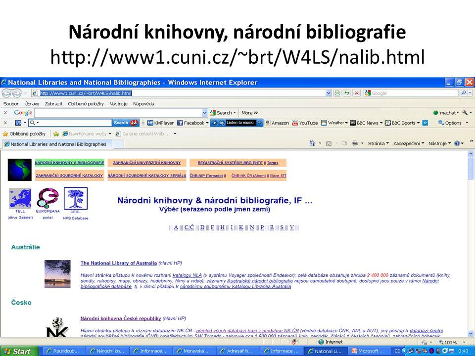 Národní knihovny, národní bibliografie http://www1.cuni.cz/~brt/W4LS/nalib.html