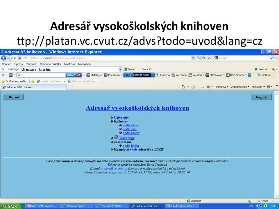 Adresář vysokoškolských knihoven ttp://platan.vc.cvut.cz/advs todo=uvod&lang=cz