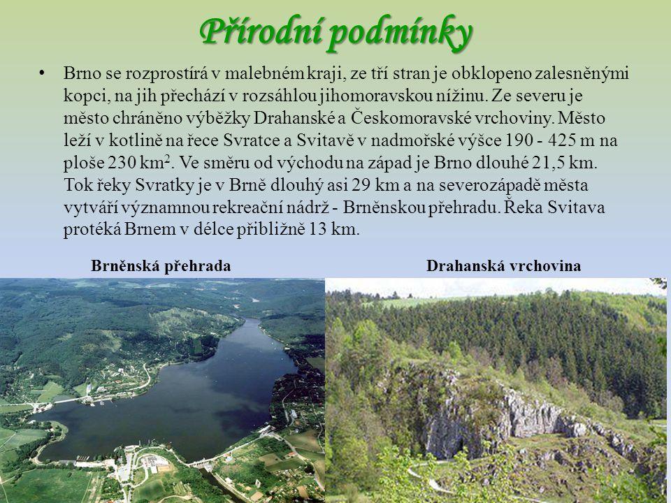 Přírodní podmínky Brno se rozprostírá v malebném kraji, ze tří stran je obklopeno zalesněnými kopci, na jih přechází v rozsáhlou jihomoravskou nížinu.