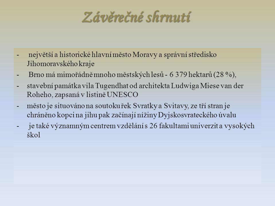 Závěrečné shrnutí - největší a historické hlavní město Moravy a správní středisko Jihomoravského kraje - Brno má mimořádně mnoho městských lesů - 6 37