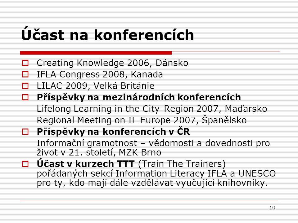10 Účast na konferencích  Creating Knowledge 2006, Dánsko  IFLA Congress 2008, Kanada  LILAC 2009, Velká Británie  Příspěvky na mezinárodních konferencích Lifelong Learning in the City-Region 2007, Maďarsko Regional Meeting on IL Europe 2007, Španělsko  Příspěvky na konferencích v ČR Informační gramotnost – vědomosti a dovednosti pro život v 21.
