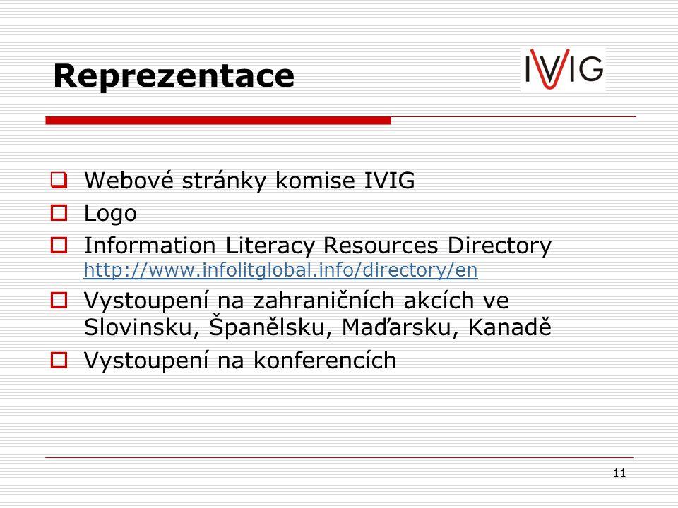 11 Reprezentace  Webové stránky komise IVIG  Logo  Information Literacy Resources Directory http://www.infolitglobal.info/directory/en http://www.infolitglobal.info/directory/en  Vystoupení na zahraničních akcích ve Slovinsku, Španělsku, Maďarsku, Kanadě  Vystoupení na konferencích