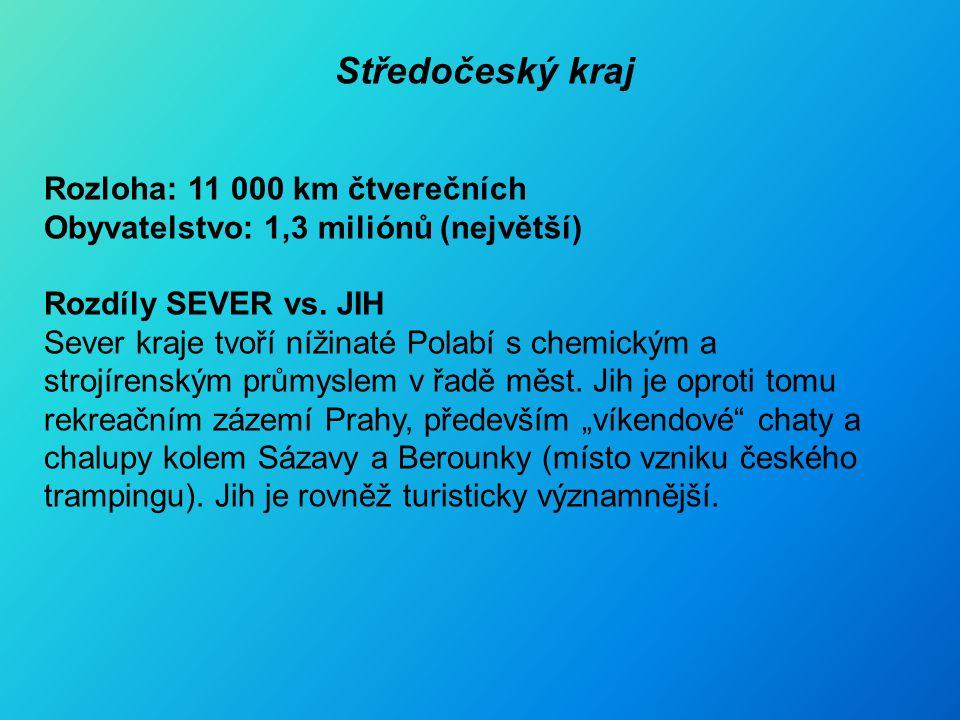 Středočeský kraj Rozloha: 11 000 km čtverečních Obyvatelstvo: 1,3 miliónů (největší) Rozdíly SEVER vs.