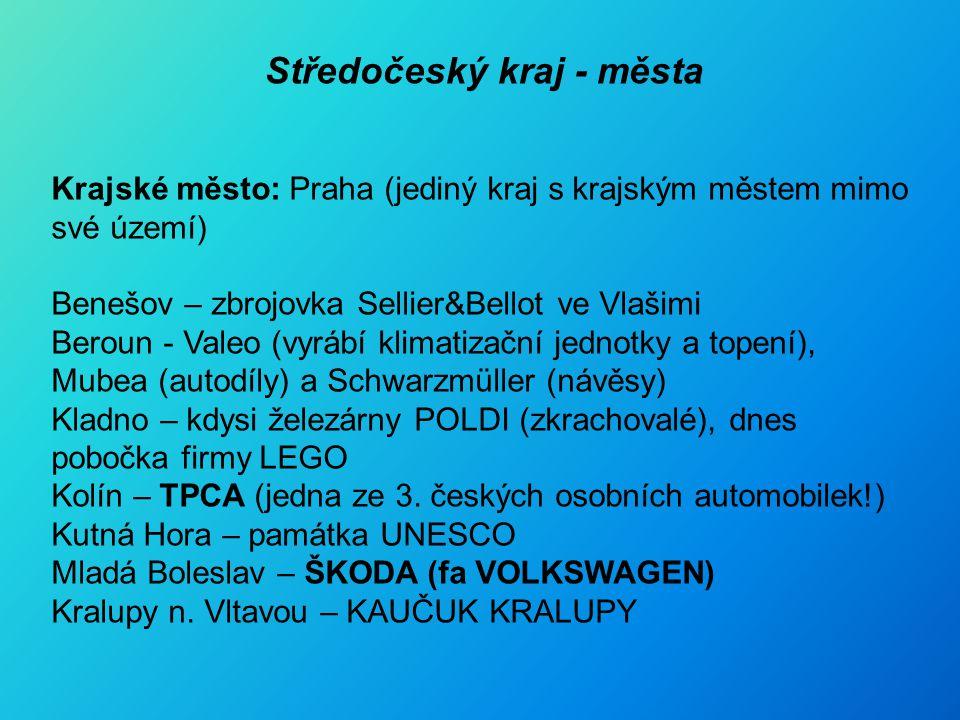 Středočeský kraj - města Krajské město: Praha (jediný kraj s krajským městem mimo své území) Benešov – zbrojovka Sellier&Bellot ve Vlašimi Beroun - Valeo (vyrábí klimatizační jednotky a topení), Mubea (autodíly) a Schwarzmüller (návěsy) Kladno – kdysi železárny POLDI (zkrachovalé), dnes pobočka firmy LEGO Kolín – TPCA (jedna ze 3.