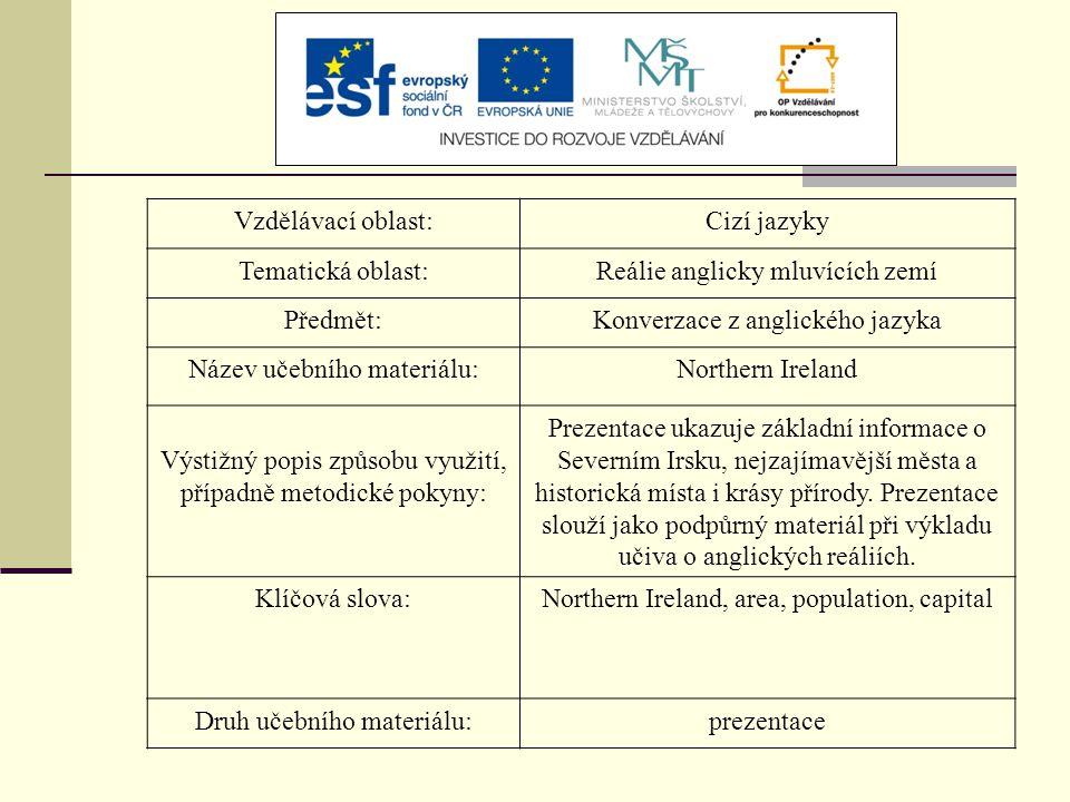 Vzdělávací oblast:Cizí jazyky Tematická oblast:Reálie anglicky mluvících zemí Předmět:Konverzace z anglického jazyka Název učebního materiálu:Northern