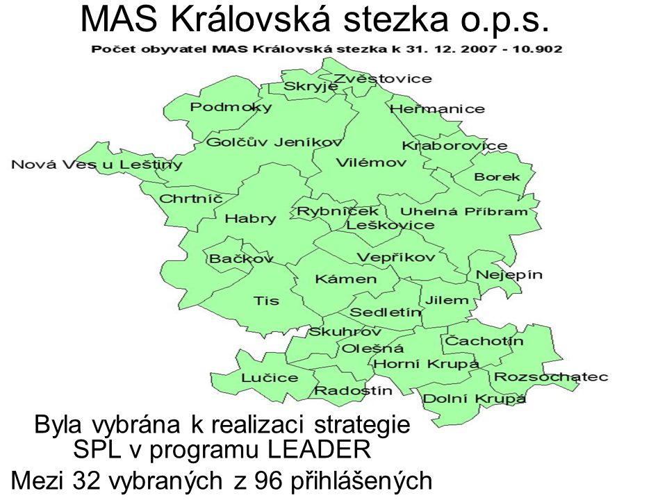 MAS Královská stezka o.p.s. Byla vybrána k realizaci strategie SPL v programu LEADER Mezi 32 vybraných z 96 přihlášených