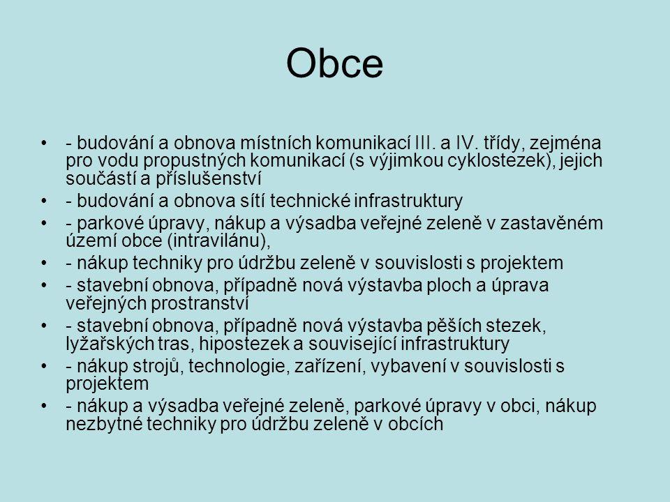 Obce - budování a obnova místních komunikací III. a IV.