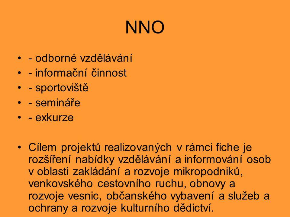 NNO - odborné vzdělávání - informační činnost - sportoviště - semináře - exkurze Cílem projektů realizovaných v rámci fiche je rozšíření nabídky vzděl