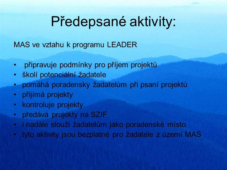 Další aktivity Aktivity MAS mimo Leader Píše projekty Konzultuje projekty Připravuje projekty spolupráce Poradenské místo pro Zelená úsporám?.