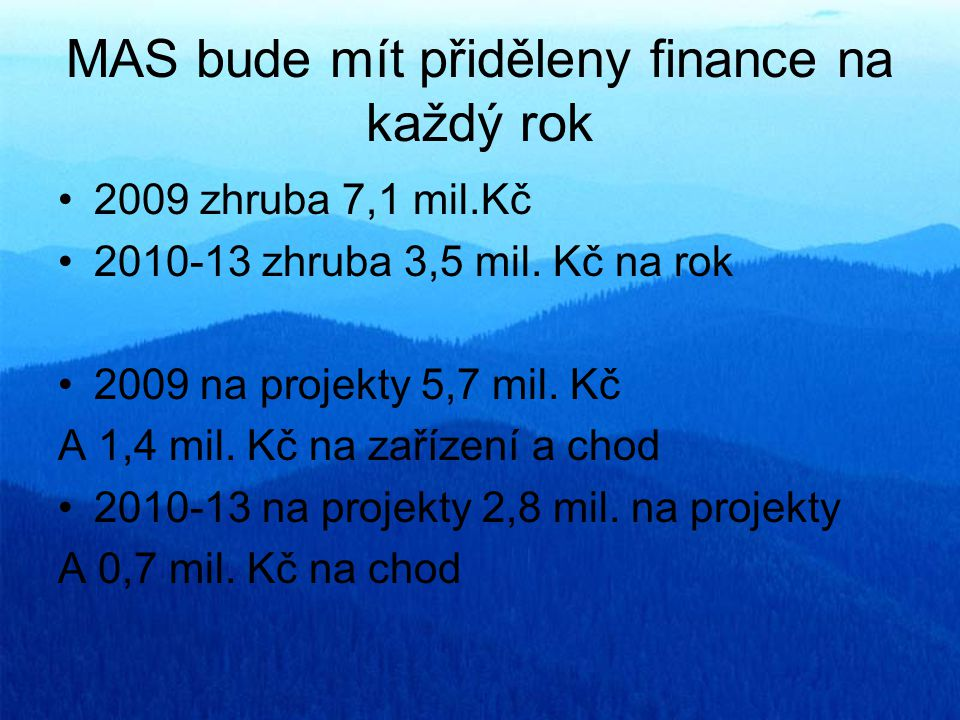 MAS bude mít přiděleny finance na každý rok 2009 zhruba 7,1 mil.Kč 2010-13 zhruba 3,5 mil. Kč na rok 2009 na projekty 5,7 mil. Kč A 1,4 mil. Kč na zař