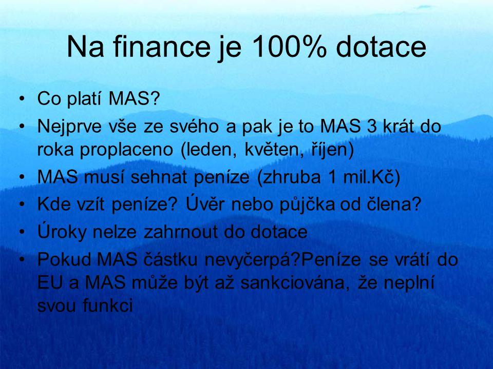 Na finance je 100% dotace Co platí MAS? Nejprve vše ze svého a pak je to MAS 3 krát do roka proplaceno (leden, květen, říjen) MAS musí sehnat peníze (