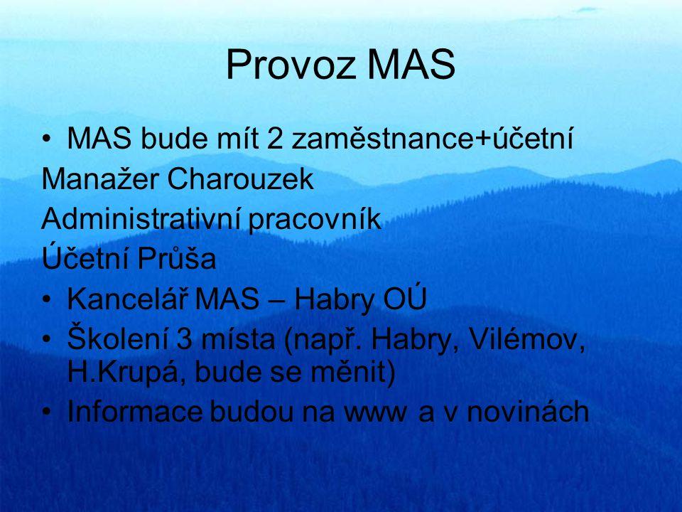 Provoz MAS MAS bude mít 2 zaměstnance+účetní Manažer Charouzek Administrativní pracovník Účetní Průša Kancelář MAS – Habry OÚ Školení 3 místa (např. H