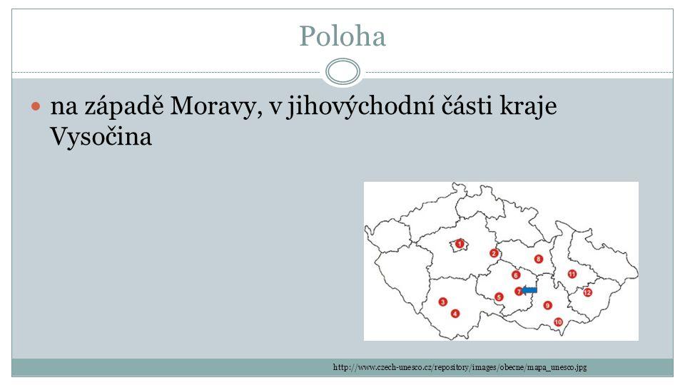 Poloha na západě Moravy, v jihovýchodní části kraje Vysočina http://www.czech-unesco.cz/repository/images/obecne/mapa_unesco.jpg
