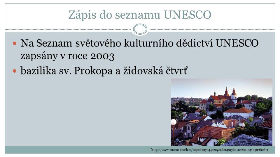 Zápis do seznamu UNESCO Na Seznam světového kulturního dědictví UNESCO zapsány v roce 2003 bazilika sv. Prokopa a židovská čtvrť http://www.unesco-cze