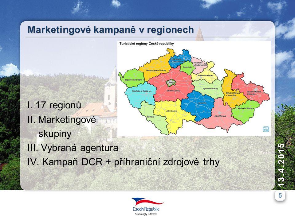 5 13.4.2015 I. 17 regionů II. Marketingové skupiny III.