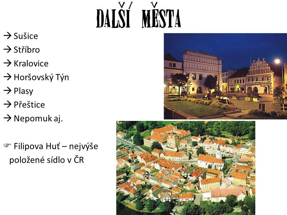  Sušice  Stříbro  Kralovice  Horšovský Týn  Plasy  Přeštice  Nepomuk aj.  Filipova Huť – nejvýše položené sídlo v ČR