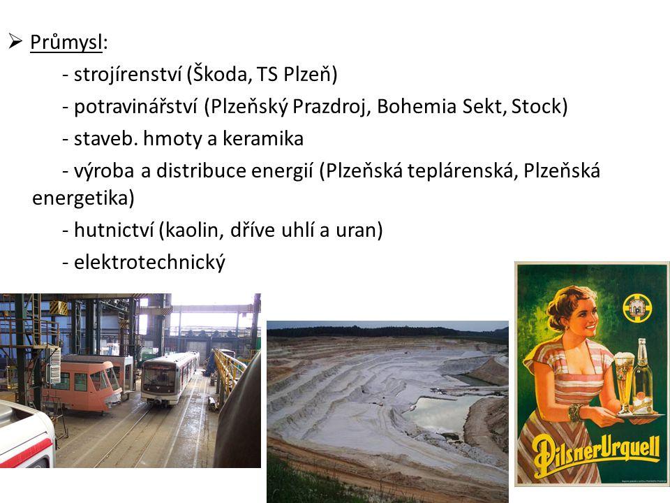  Průmysl: - strojírenství (Škoda, TS Plzeň) - potravinářství (Plzeňský Prazdroj, Bohemia Sekt, Stock) - staveb. hmoty a keramika - výroba a distribuc
