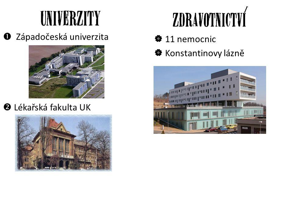  Západočeská univerzita  Lékařská fakulta UK  11 nemocnic  Konstantinovy lázně