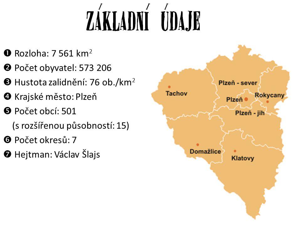  Rozloha: 7 561 km 2  Počet obyvatel: 573 206  Hustota zalidnění: 76 ob./km 2  Krajské město: Plzeň  Počet obcí: 501 (s rozšířenou působností: 15